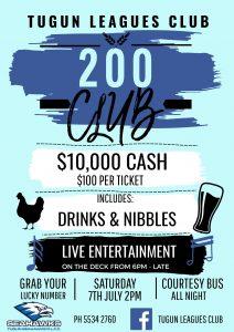200 Club – SATURDAY 7TH JULY 2018