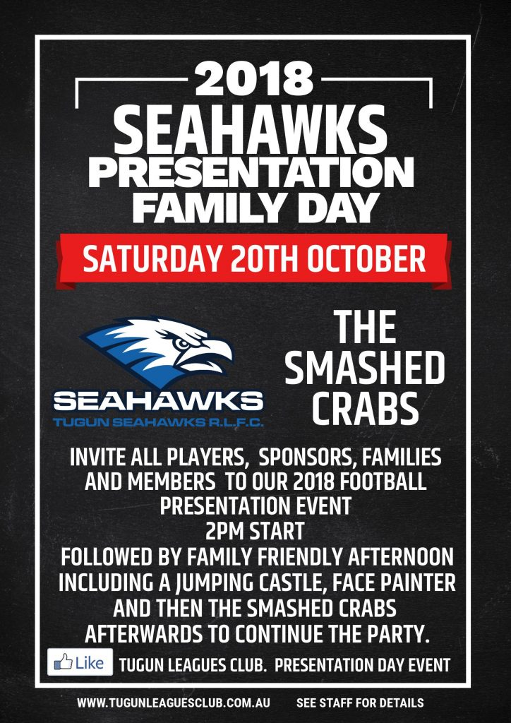 2018 Seahawks Presentation Family Day – Saturday 20th October