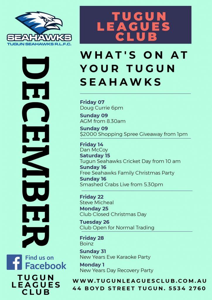 Whats on this month at Tugun Seahawks